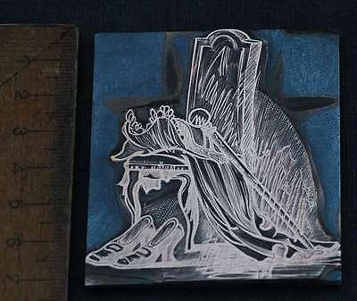 GARDEROBE DER KÖNIGIN Galvano Druckstock Kupferklischee Druckplatte Eichenberg