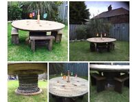 Large Rustic shabby hand made garden table and Bench Chairs
