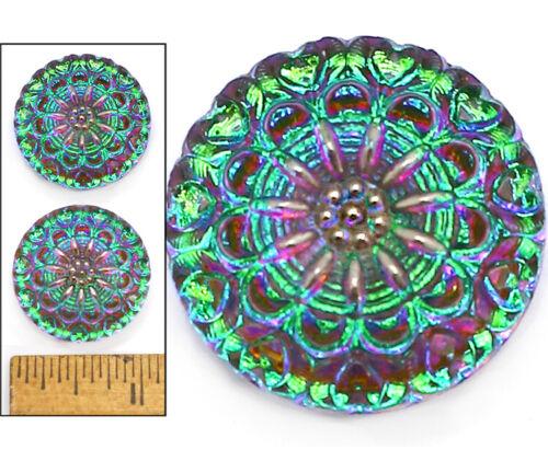 27mm Vintage Czech Glass Green Purple AB FIRE Lace Mandala HEARTS Buttons 2pc