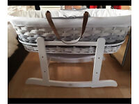 Mothercare ombré grey and white wicker Moses basket