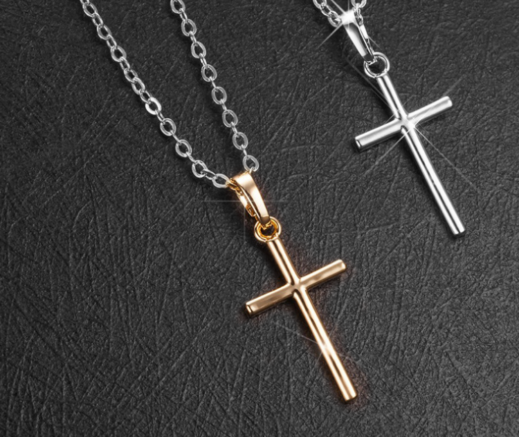 Jewellery - Gold Cross Pendant 925 Sterling Silver Chain Necklace Womens Jewellery Love Gift