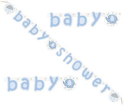Girlande Banner 160cm Aufschrift BABY SHOWER Blau Junge Boy Geburt Party