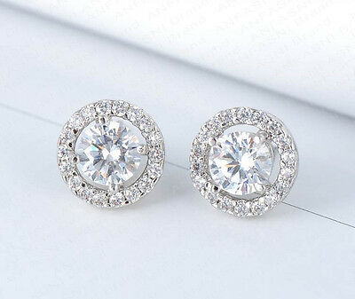 Pave Round Earrings (Sterling Silver and Cubic Zirconia Round Halo Pave Bridal Stud)
