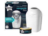 NEW Tommee Tippee Sangenic Tec nappy bin. FREE softly scented anti-bacterial refill