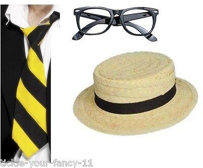Women's School Girl Fancy Dress Kit Yellow & Black Tie Glasses Straw Boater Hat