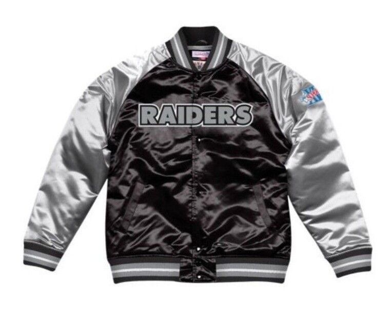 huge selection of 6bc75 7a8a2 Details about Authentic Oakland Raiders Mitchell & Ness NFL Tough Seasons  Satin Jacket