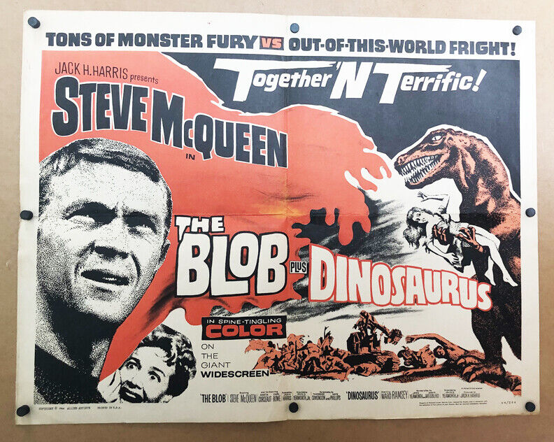 R1977 * BLOB/DINOSAURUS * 1/2sh Poster T-Rex Steve McQueen Sci-Fi Thriller!