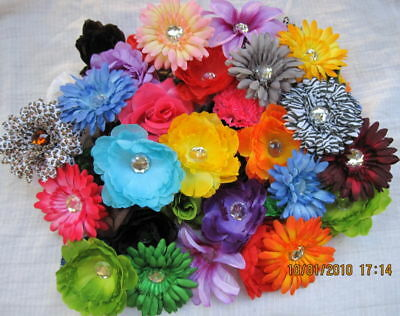 50 MIxed Silk Flower Heads Headbands Assorted Lot Bulk