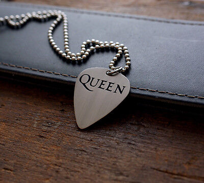 Hand Made Etched Nickel Silver Guitar Pick Necklace - Queen Band
