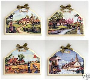 Set di 4 quadri decoro quattro stagioni arredamenti cucina for Quadri arredo salotto