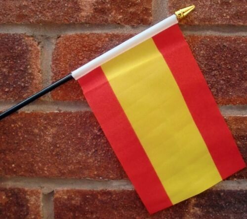 SPAIN flag PACK OF TEN SMALL HAND WAVING FLAGS Spanish Madrid Benidorm