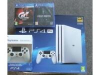 PS4 PRO 1TB CONSOLE white with games and extra pad