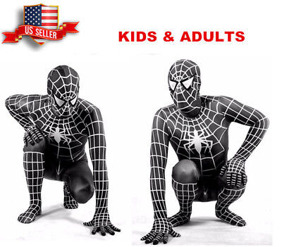 US!Adults Kids The Amazing Spider-Man 3D Print Venom Zentai Cosplay Costume - Spider Man 3 Costume