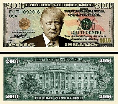OUR WELCOME PRESIDENT DONALD TRUMP DOLLAR BILL (2 Bills)