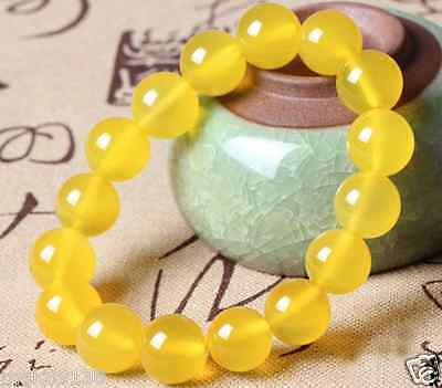 "Yellow Jade Stack Layer beaded stretch Gemstone Bracelet for man woman sz 7.5"""