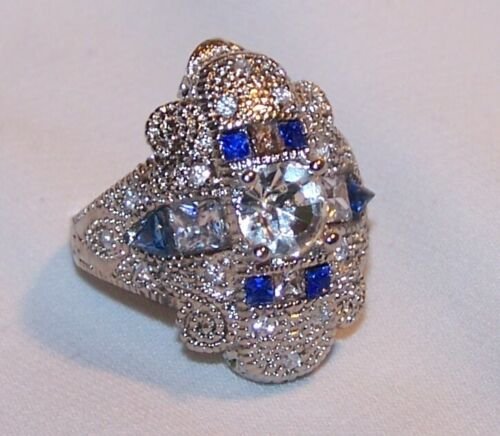 Art Deco Style Rhinestone Ring-Blue Clear Stns-Size 7-Estate Jewelry