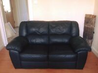 2 Seater Black Leather Couch/Sofa. Perfect Condition. Pick Up Only.