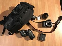 Canon EOS 550d camera, 2 lenses and carry case