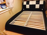 DFS Real Leather Double Bed Frame