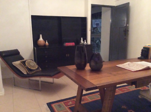 Designer Chaise Leather and timber lounge St Lucia Brisbane South West Preview