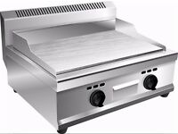 USED HEAVY DUTY LPG GAS GRIDDLE HOTPLATE 55cm bed STAINLESS