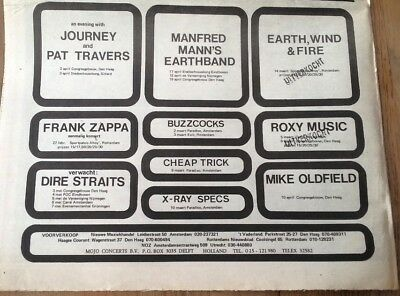 MIKE OLDFIELD DIRE STRAITS Dutch concerts 1979 Press ADVERT 12x8 inches