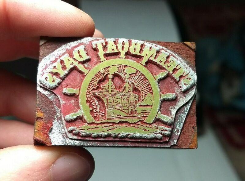 Vintage Letterpress Printing Block Steamboat Days Ship