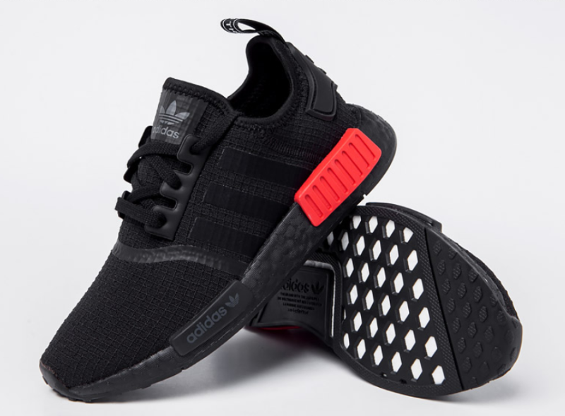 new style 35bd7 7ec7f  Adidas  NMD R1 (B37618) - Black  Red, Men s Running Shoes