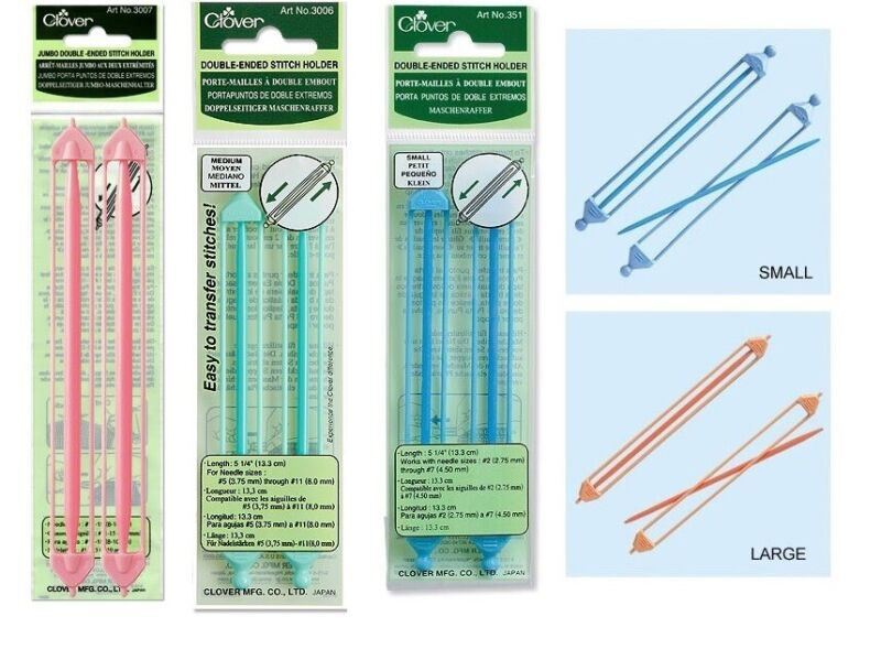 Clover Double Ended Stitch Holders Knitting SELECT YOUR SIZE!
