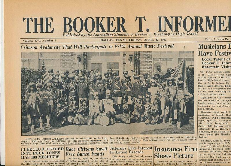 1942 Booker T. Washington High School Dallas African American School Newspaper