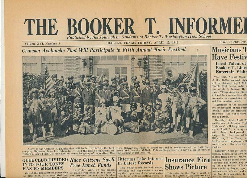 1942 Booker T. Washington High School Dallas African American School Newspaper