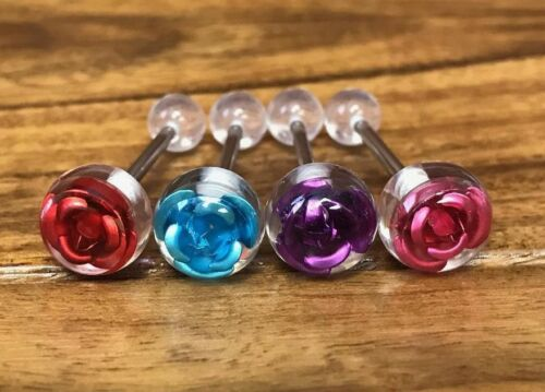 4pcs Embedded Floating Titanium Rose Tongue Rings Tounge Barbells