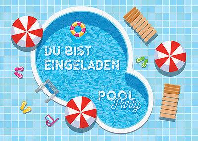 Einladungskarten Einladungen Kinder Geburtstag SCHWIMMBAD-PARTY / POOL PARTY