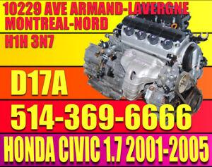 Moteur 1.7 01 02 03 04 05 Honda Civic D17A1 D17A2 4 Cylindres