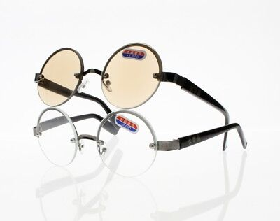 Retro Large Round Rimless Crystal Clear Tinted Lens Sun Readers Reading (Large Rimless Glasses)