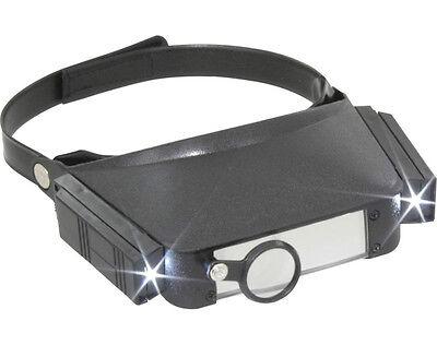 Kopfbandlupe (Stirnbandlupe, Stirnlupe) mit LED - Licht (DO KBL20) - NEU