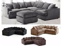WE DO SAME DAY DELIVERIES --- Benson Italian Jumbo Fabric 3 and 2 Sofa Set - NEXT DAY DELIVERY