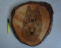 Superb Rare Large Tree Ring Wolf Carving - sign by the maker!