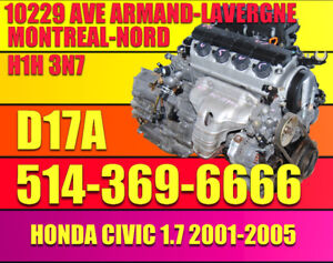 2001 2002 2003 2004 2005 Honda Civic LX/DX/Si Moteur 1.7