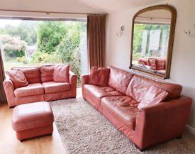DELIVERY INCLUDED VGC leather hide 2,4 seater sofa footstool suite