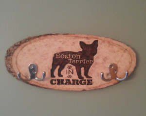 Boston Terrier In Charge leash/collar hanger