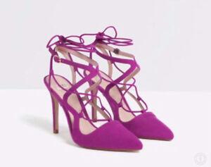 Size 5 Purple/Pink/Magenta Zara heels - worn once!