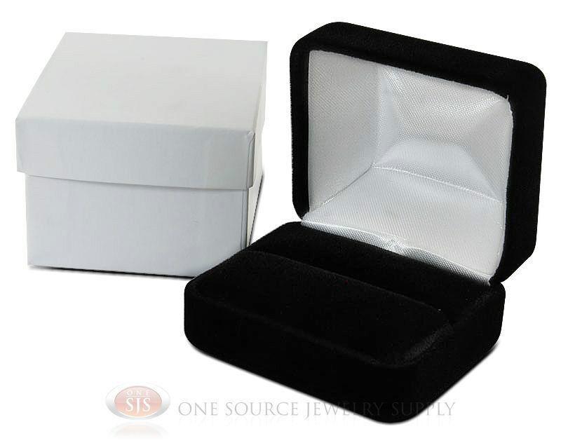 "Black Velvet Classic Metal Double Ring Jewelry Gift Box 2 3/8""W x 2""D x 1 1/2""H"