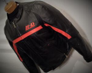 Manteau Moto HARLEY Femme XLARGE Cuir Noir Bande Rouge 230$ VIM