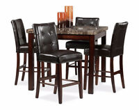 Dining Table Set with Bar Stool Style Chairs