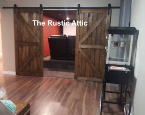 Rustic Handcrafted Sliding Barn doors Soft Close Bypass Hardware