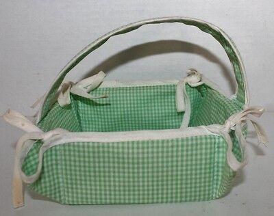 VTG Handmade Easter Basket -Green, white trim ~  4 1/2