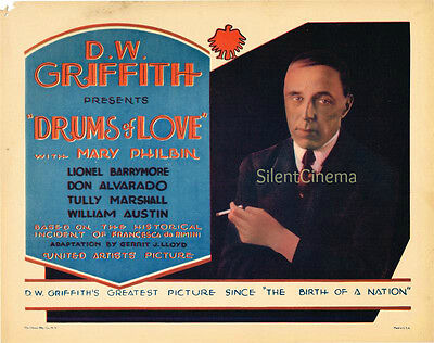 DRUMS OF LOVE Title Lobby Card Featuring Director D.W. Griffith Nice Design 1928
