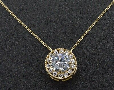 PM20 Created Diamond Halo Solitaire Round Cut Pendent 0.80ct 14k Yellow Gold -