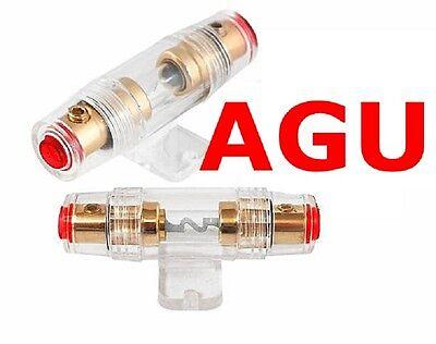 AGU Sicherungshalter Carhifi KFZ Glas Gold 30 / 60 A Sicherung 6 10 16 mm² Kabel